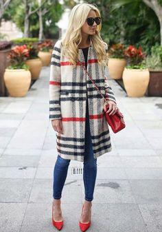 White Plaid Print Long Sleeve Fashion Coat