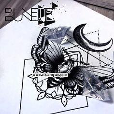moth moon dotwork geometic blackwork tattoo design idea bunette skinque