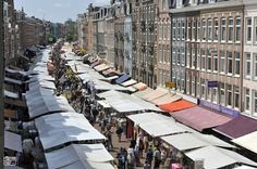 Albert Cuypmarkt Amsterdam - daily food market, open every day except Sunday from 9-6pm - buy a stroopwafel