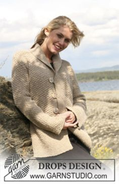 """Ravelry: 109-41 Jacket in double moss stitch in """"Angora-Tweed"""" pattern by DROPS design"""