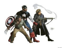 Captain America and Wolverine and whoever that lady is by Travis Charest More Travis Charest @ http://groups.yahoo.com/group/ComicsStrips & http://groups.google.com/group/ComicsStrips http://travischarestspacegirl.blogspot.com http://www.travischarestgallery.com