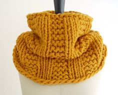 Sunflower Gold Chunky Knit Infinity Loop Scarf in Wool Blend.