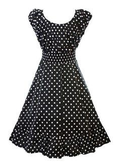 Retro 1950s Polka Dot Smock Swing Plus Size Fashion Dress