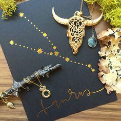 Happy Birthday Taurus!   Heather Benjamin hand carved gold vermeil bull skull necklace. $332.  David Aubrey gold vermeil zodiac sign pendant. $34.  Flash Tattoos Taurus constellation card with matching temporary tattoo. $6.