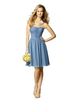 """Alfred Angelo chiffon bridesmaid $159. Shown in """"Once Upon a Time"""" slate blue."""