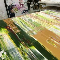 Incredibly thick gold and green oil paint
