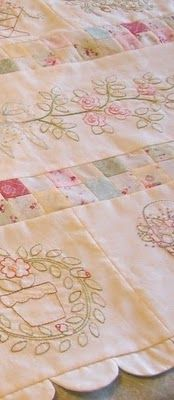 A combination of quilting and embroidery - so soft, and feminine! <3
