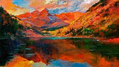 Original Oil Painting by Wendy & Kevin Schaefer/Miles  Aspen Mountain Reflections  60 x 36 from the magnificent Maroon Bells in Aspen Colorado