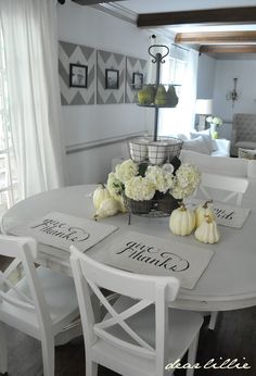 Dear Lillie: Our New Give Thanks Placemats - love this dining set up and the centerpiece three tier basket New Kitchen, Kitchen Dining, Dining Room, Dining Set, Le Logis, Dear Lillie, Placemat Sets, Give Thanks, Table And Chairs