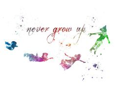 Peter Pan Quote 'Never Grow Up' ART PRINT by SubjectArt on Etsy