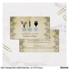 chic vintage hair stylist hairstylist blue rose business card