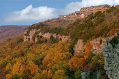 The Lodge at Mount Magazine State Park sits upon the highest point in Arkansas and offers views of breathtaking fall colors.
