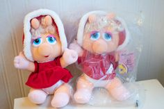 Vintage Baby Miss Piggy Christmas Plush from Mcdonalds, 1988 Jim Henson Muppet Collectible Plush