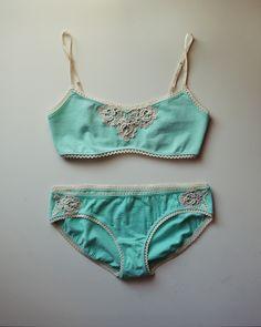 Seafoam Roses organic cotton lingerie set by Katastrophic Clothing