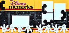 Disney scrapbook layout - love the little mickey head poking off the sides and the border of gloves Ideas Scrapbook, Vacation Scrapbook, Disney Scrapbook Pages, Scrapbook Sketches, Scrapbook Page Layouts, Scrapbook Paper Crafts, Scrapbook Supplies, Scrapbook Cards, Scrapbooking Ideas
