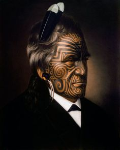 Tomika Te Mutu, chief of the Ngaiterangi tribe, Bay of Plenty, New Zealand, oil painting by Gottfried Lindauer Maori Face Tattoo, Ta Moko Tattoo, Face Tattoos, Maori Tattoos, Polynesian Tattoos, Polynesian People, Zealand Tattoo, Maori People, New Zealand Art