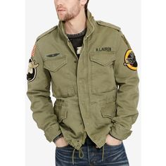 Denim & Supply Ralph Lauren Men's Patches Field Jacket ($198) ❤ liked on Polyvore featuring men's fashion, men's clothing, men's outerwear, men's jackets, olive, mens green military style jacket, mens olive jacket, mens army jacket, mens olive green military jacket and mens olive green jacket