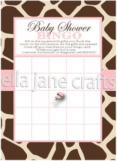 Giraffe and Pink Baby Shower Bingo PDF Instant by EllaJaneCrafts, $5.00