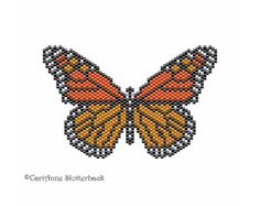 Monarch Butterfly Pendant peyote stitch pattern Large #5, beading pattern
