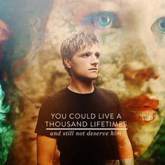 """My favorite picture of Peeta! He can defiantly play the """"in love"""" card with me:)"""