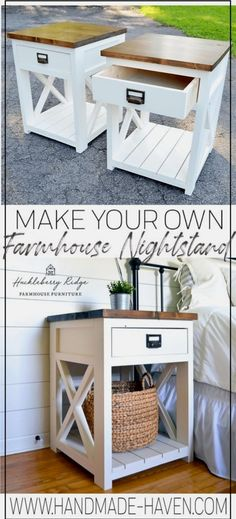 modern farmhouse style Farmhouse nightstand plans that will give your bedroom a Joanna Gaines farmhouse vibe. These free DIY nightstand plans are an easy step-by-step tutorial on how to recreate a farmhouse nightstand for your home. Diy Furniture Table, Living Room Furniture Layout, Diy Furniture Plans, Rustic Furniture, Antique Furniture, Bedside Table Ideas Diy, Furniture Design, Farmhouse Style Furniture, Outdoor Furniture