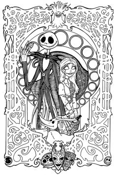 nightmare before christmas art nouveau by therealjoshlyman on deviantart christmas coloring pagesdisney