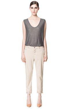 PANTALON CHINO STRECH - Pantalones - Mujer | ZARA España with TENCEL® Lyocell