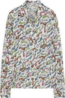 I'm crazy for liking this shirt, right? Miu Miu Printed cotton shirt | NET-A-PORTER