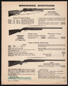 1973 BROWNING Buck Special~Double Auto Trap Special Shotgun AD #Browning