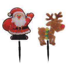 H159 - 4Pcs LED Santa/Reindeer 1M Garden Stakes Battery Operated Novelty Lighting, Santa And Reindeer, Garden Stakes, Xmas Decorations, Battery Operated, Outdoor Lighting, Lighting Design, Indoor Outdoor, Bulb