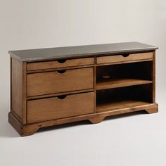Our Emmett Media Stand has the appeal of vintage-inspired furniture with a modern entertainment center's durability. It holds a large television with ease. Modern Entertainment Center, Entertainment Stand, Rustic Media Cabinets, Media Furniture, House Furniture, Furniture Ideas, Bedroom Furniture, Small Drawers, Sliding Drawers