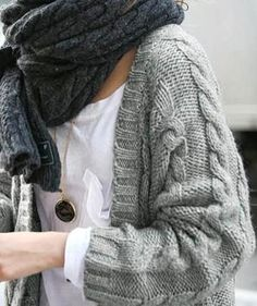Wire Knit Oversized Grey Cardigan With Cozy Scarf