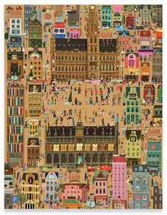 Just wrapping paper designed by Tom Schamp, shows a big part of the city of Brussels