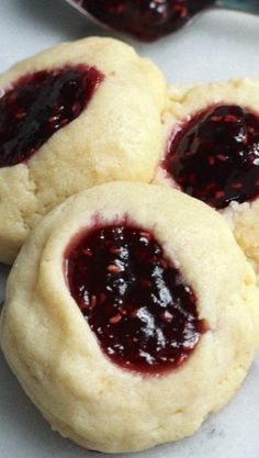 5-Ingredient Raspberry Cheesecake Thumbprint Cookies