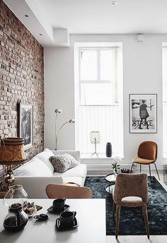 Apartment living room design furniture exposed brick Ideas for 2019 Brick Interior, Apartment Interior Design, Home Interior, Living Room Interior, Home Living Room, Living Room Designs, Living Room Decor, Apartment Living, Interior Ideas