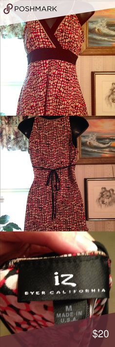 Lose v neck dress shirt Red and nude poka dots v neck top tie in the back Iz Byer Tops Blouses
