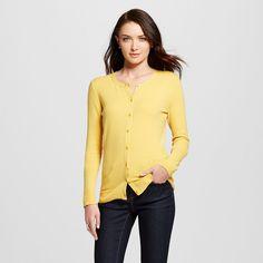 Women's Favorite Cardigan Long Sleeve Yellow M - Merona