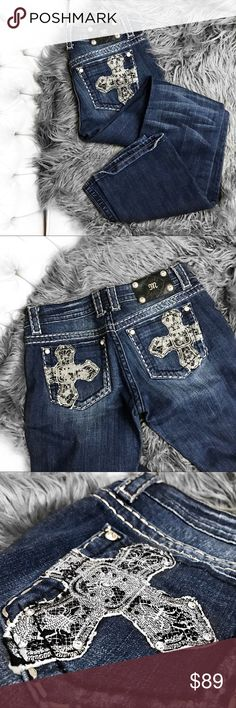 "Miss me cross embellished boot cut  jeans Like new! No trades. I take all photos myself of the actual item. Always open to offers. 32"" inseam Miss Me Jeans Boot Cut"