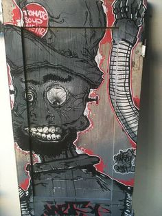 Spray painted shutter by Dylan  Kickcan & Conkers, via Flickr