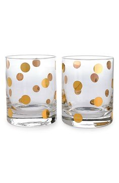 Cute drinking glasses with gold polka dots.