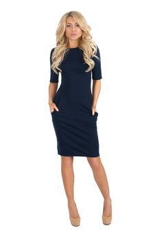 Dark Blue Jersey Pencil Dress , short Sleeve Casual Dress with Pockets.