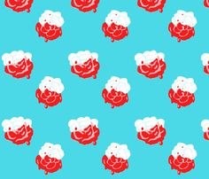 Painting the Roses Red (on blue) fabric by majoranthegeek on Spoonflower…