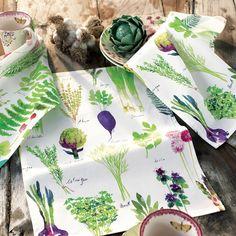 "Torchon ""Mille Herbier Printemps"", 100% coton, fabrication française - Garnier-Thiebaut Mille, How To Make, Fondue, Interior Design, Onions, Spring Vegetable Garden, Herb Box, Dishcloth, Printed Cotton"