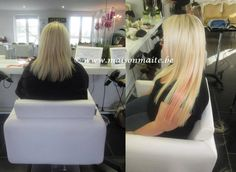 Before & after : blonde & pink hair extensions created by our hairextensions team @MaisonMaite www.maisonmaite.com #GreatLengths