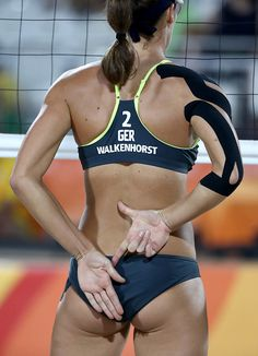 #RIO2016 Kira Walkenhorst of Germany gestures to her team mate during the Women's Beach Volleyball Preliminary Pool D against Jamie Lynn Broder and Kristina...