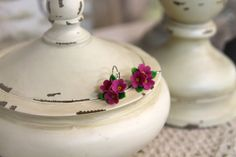 Polymer Clay ball earrings handmade Flowers jewelry floral