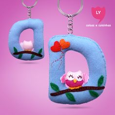 "Letra ""D"" Coruja #cute #beautiful #love #keychain #blue #letter #D #lycoisasecoisinhas"