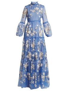 Erdem Cassandra Ruffled Embroidered Silk-organza Gown In Blue Floral Embroidery Dress, Blue Silk Dress, Blue Dresses, Sheer Gown, Silk Organza, Silk Gown, Erdem, Embroidered Silk, African Dress
