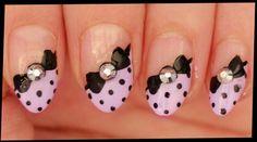 Black Dots & Bows on Pastel Purple nail art