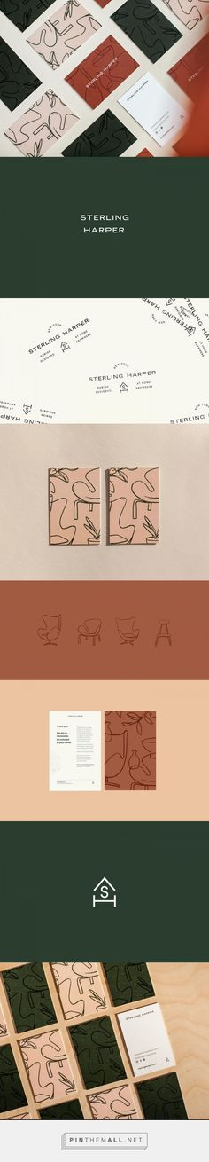 I absolutely love how creative the abstract patterns are used here, turning out to be furniture, related to the interior brand. That truly is an example of creative branding. Gorgeous stationery, elegant color palette of pale green, red and blush. Corporate Design, Brand Identity Design, Graphic Design Branding, Brochure Design, Brand Design, Graphic Designers, Logo Branding, Packaging Design, Inspiration Logo Design